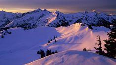 Snowy Mountains Sunset - wallpaper.