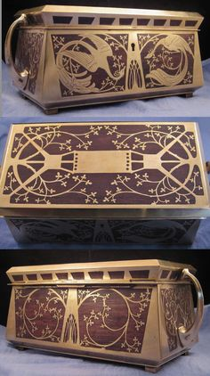 """Erhard & Söhne Art Nouveau / Secessionist jewelry box, German, brass with wood inlay. Bares retailer's label """"Fisher, London"""", 4.25 in. high, 8 in. wide 