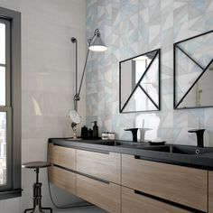 Titanium White and White Decor room shot. Kitchen Interior, Kitchen Design, Tile Manufacturers, Ceramic Wall Tiles, White Decor, Double Vanity, Contemporary Design, Tile Floor, Aqua