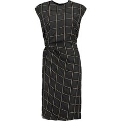 Lanvin Knotted printed twill dress ($710) ❤ liked on Polyvore featuring dresses, black, lanvin, knot dress, slimming dresses, lightweight dresses and twill dress