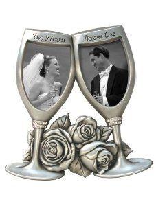 Wedding gift: Malden Champagne Glasses Metal Wedding Frame, 2-Openings