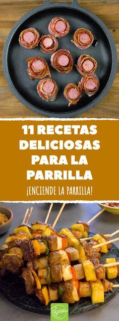 11 recetas deliciosas para la parrilla. 11 recetas que convierten cualquier asado en inolvidable #asado #parrilla #barbacoa #recetasdeasados #calor #verano #recetasalaparrilla #cerdoasado #brocheta #cordonbleu #salmonalaparrilla #pasteldetocino #tartadebacon #filetedecerdo #pollotailandes #hamburguesa #maizasado Barbecue Sauce Recipes, Pulled Pork Recipes, Grilled Chicken Recipes, Chicken Wing Recipes, Bbq Chicken, Barbecue Weber, Barbecue Side Dishes, Cooking Recipes, Food