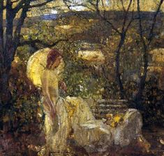 """Richard Edward Miller (American Impressionist Painter, 1875-1943) """"Girl With Parasol in a Landscape"""""""