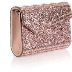 Jimmy Choo Candy Pink Glitter Clutch ($570) ❤ liked on Polyvore featuring bags, handbags, clutches, pink, pink crossbody purse, pink leather handbags, pink handbags, pink purse and leather purses