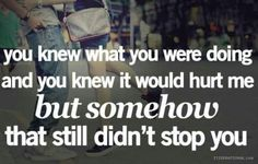 you knew what you were doing and you knew it would hurt me, but somehow that still didn't stop you
