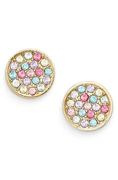Encrusted with vivid and bright multicolored crystals, these dainty disc earrings from Kate Spade will add just the right amount of shine to any outfit.