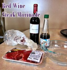 Steak Marinade made with red wine, soy sauce and garlic