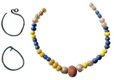 Slavic set of jewellery - necklace and temple rings - found in Mockersdorf, Neustadt an der Waldnaab, Bavaria, Germany. Image via Muzeum Cheb. Jewelry Necklaces, Beaded Necklace, Jewellery, Viking Age, Bavaria Germany, Archaeology, Timeline, Antique Jewelry, Temple