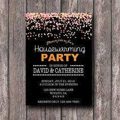 Confetti Housewarming invitation printable or by ScriptandRose