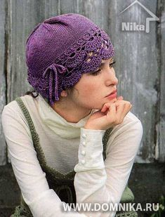 knit cap with crochet openwork lace edging Sombrero A Crochet, Crochet Beanie, Knitted Hats, Crochet Woman, Crochet Lace, Crochet Stitches, Knitting Patterns, Crochet Patterns, How To Purl Knit