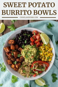 Loaded with veggies, spices and some guacamole, this sweet potato burrito bowl i. - Loaded with veggies, spices and some guacamole, this sweet potato burrito bowl is a great vegetaria - Vegetarian Burrito, Tasty Vegetarian Recipes, Veggie Recipes, Mexican Food Recipes, Whole Food Recipes, Healthy Recipes, Vegetarian Sweets, Vegetarian Mexican Food, Recipes With Quinoa