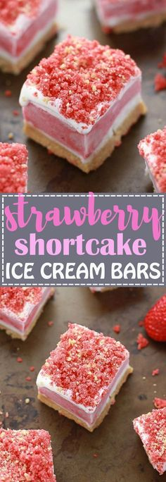 No Bake Strawberry Shortcake Ice Cream Bars has all the flavors you love about the Good Humor Popsicles in an easy no bake icebox treat. Best of all, this recipe is super simple to make with creamy vanilla ice cream, strawberry sorbet and crushed Oreo Ice Cream Treats, Ice Cream Desserts, Frozen Desserts, Ice Cream Recipes, No Bake Desserts, Just Desserts, Delicious Desserts, Yummy Food, Frozen Treats