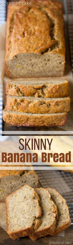 Healthy Skinny Banana Bread recipe with low sugar and low fat! I LOVE this recipe!