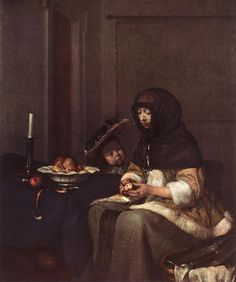 Lady Peeling An Apple by Gerard ter Borch