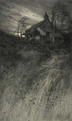CF William Mielatz, Old House in Wind, 1906, etching