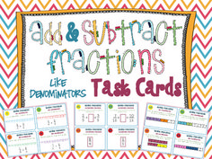 Adding & Subtracting Fractions Task Cards { Add & Subtract LIKE denominators } Adding And Subtracting Fractions, Math Fractions, Maths, Math Resources, Math Activities, Math Task Cards, Math Intervention, Fun Math, Math Help