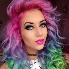 71 most popular ideas for blonde ombre hair color - Hairstyles Trends Rainbow Dyed Hair, Coloured Hair, Dye My Hair, Crazy Hair, Cool Hair Color, Hair Color Ideas, Gorgeous Hair, Amazing Hair, Gorgeous Makeup