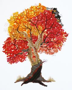 Genähter Herbstbaum, 40 x 50 cm