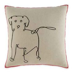 product image for ED Ellen DeGeneres Dog Square Throw Pillow in Medium Brown