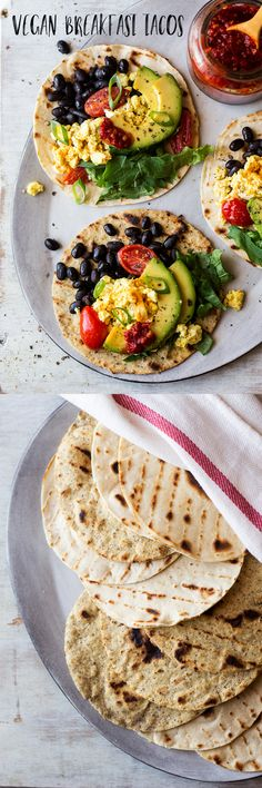 Scrambled tofu, black beans, avocado, and cherry tomatoes make up the savory filling for these satisfying Breakfast Tacos.
