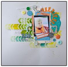 Layout made with the #epiphanycrafts Shape Studio Tool Scalloped Circle. www.epiphanycrafts.com #LYB #summer #scrapbook