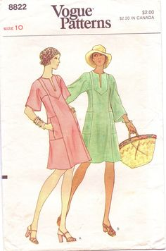 70s Vogue Pattern 8822 Womens Pullover Caftan Dress by CloesCloset, $8.00