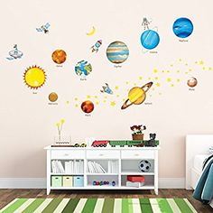 Decowall DW-1307 Planets in the Space Kids Wall Stickers Wall Decals Peel and Stick Removable Wall Stickers for Kids Nursery Bedroom Living Room: Amazon.co.uk: Baby