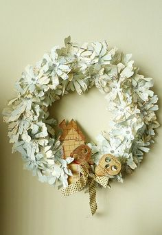 Wreath Use New Leaf die in Stampin up Holiday Catalog! Grapevine Wreath, Burlap Wreath, Book Page Crafts, New Leaf, Holiday Wreaths, Grape Vines, Stampin Up, Paper Wreaths, Floral Wreath