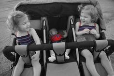 Identical Twins in a triple stroller