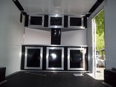 base and overhead cabinets inside enclosed trailer 8.5 x 16 with v-nose