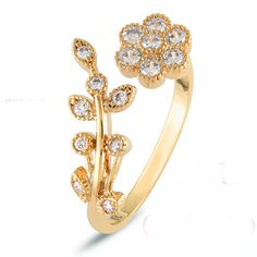 Gold Plate Flower Pattern ring //NO extra charges + FREE Shipping //     #fashiondiary #dealcliff