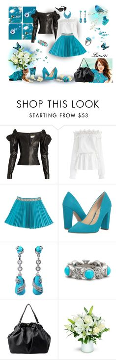 """""""BLUE SPRING"""" by lumi-21 ❤ liked on Polyvore featuring Yves Saint Laurent, Chicwish, M Missoni, Jessica Simpson, Elizabeth Showers, RED Valentino, Gucci, blueandwhite, leatherjacket and turquoise"""