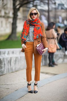 Bold Scarf Tips: Match this colorful scarf with stripes or with a one tone top. Don't be afraid to mix and match patterns! #style
