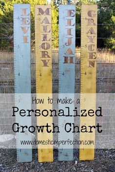 Tutorial how how to make personalized rustic growth charts. Cute!