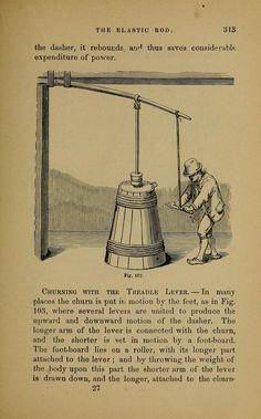 churning butter with treadle lever