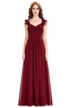 Sheath Sweetheart Long Burgundy Chiffon Ruched Bridesmaid Dress With Flowers