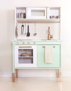 We love the potential of customising an IKEA play kitchen to make it even more special and unique for your child.Here are our top 6 duktig hacks. Ikea Kids Kitchen, Toy Kitchen, Kitchen Hacks, Diy Kids Furniture, Furniture Ads, Furniture Outlet, Discount Furniture, Luxury Furniture, Ikea Deco