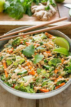 Thai Bulgur Salad | Forks Meal Planner Bulgur Recipes, Tabbouleh Recipe, Taco Salad Recipes, Lentil Recipes, Raw Food Recipes, Mediterranean Quinoa Salad, Salad With Sweet Potato, Cooking Salmon, Meal Planner