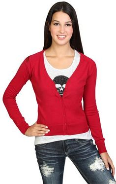 long sleeve v neck cardigan with button front and banded bottom