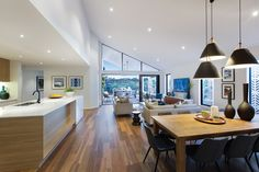 Dunedin 31 Family - Contemporary Home Design - Bondi interior style Open Plan Kitchen Dining Living, Open Plan Living, Living Room Kitchen, Home Decor Kitchen, Interior Design Kitchen, New Home Designs, Kitchen Layout, Apartment Therapy, Living Room Designs
