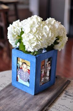 DIY Photo Vase - set out on tables with pictures of bride and groom growing up/engagement photos, etc. <3