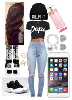"""""""Untitled #71"""" by trxll-qxeen ❤ liked on Polyvore featuring NIKE, Charlotte Russe, GUESS, Stampd, Prada and Carolee"""