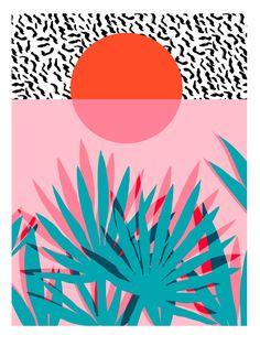 Whoa - palm sunrise southwest california palm beach sun city los angeles retro palm springs resort Art Print by Wacka | Society6