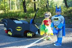 Make your wagon into a Batmobile halloween costume idea baby and toddler