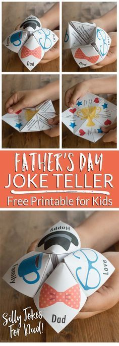 Father's Day Joke Teller for Kids (and Dads)! Surprise Dad with a free printable joke teller filled with funny Father's Day jokes Day Joke Teller for Kids (and Dads)! Surprise Dad with a free printable joke teller filled with funny Father's Day jokes Fathers Day Jokes, Kids Fathers Day Gifts, Easy Fathers Day Craft, Diy Gifts For Dad, Diy Father's Day Gifts, Father's Day Diy, Easy Diy Father's Day Crafts, Fun Diy, Free Fathers Day Cards