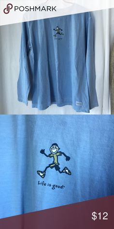 "Life is good Sz M jogging running happy tee Pit-to-pit approximately 43""; 25"" long prewashed. EUC. Color is a prettier shade of sky blue - impossible to get it on photo :( Life is Good Tops Tees - Long Sleeve"
