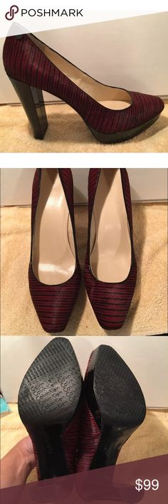 Calvin Klein Maroon & Black Cowhide Heels Malissa These were a HOT seller and now they are SOLD OUT! Absolutely stunning Calvin Klein genuine cowhide heels in a beautiful maroon and black striped animal print. Like New condition - no tags or box - these were floor models. Size 10M.  OFFERS WELCOME  Calvin Klein Shoes Heels