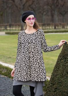 Our playful Dalmation spots pattern really comes into its own in this gently flared tunic. With long sleeves and front buttoning, it pairs perfectly with dresses, skirts and trousers alike. Colorful Fashion, Boho Fashion, Boho Dress, Dress Up, Winter 2017, Fall 2016, Gudrun, Swedish Fashion, Boho Clothing