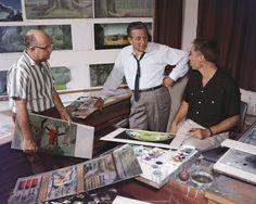 Walt Disney is dropping by Eyvind Earle's office; late 1950s (via Deja View)