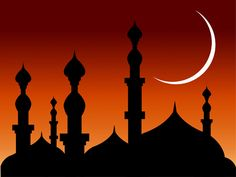 :::: ♡ ✿⊱╮☼ ☾ PINTEREST.COM christiancross ☀❤•♥•* :::: abstract-background-mosques-with-silhouette-and-moon-Islamic-Series